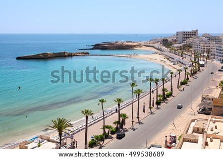 MONASTIR, TUNISIA, AFRICA - CIRCA NOV, 2012: Sea bay, beach, embankment and coastal road are in the city of Monastir, the Mediterranean Sea, Tunisia