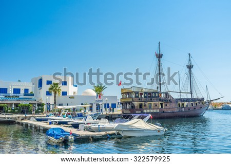 MONASTIR, TUNISIA - AUGUST 29, 2015: The replicas of pirate warship are very popular among the tourists that like to sail along the coast, on August 29 in Monastir. - stock photo