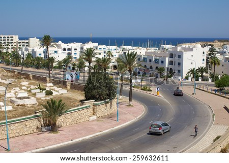 MONASTIR, TUNISIA - August 01, 2012: View of the city of Monastir