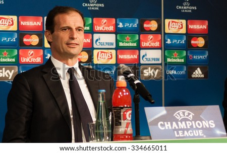 Monchengladbach, GERMANY - 2nd NOVEMBER, 2015: Massimiliano Allegri at press conference ahead of UEFA Champions League group match Borussia Monchengladbach vs. Juventus FC. - stock photo