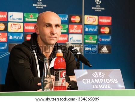Monchengladbach, GERMANY - 2nd NOVEMBER, 2015: Press conference ahead of UEFA Champions League group match Borussia Monchengladbach vs. Juventus FC. - stock photo