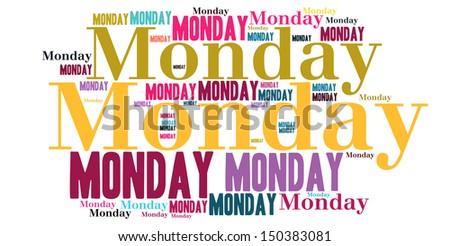 Monday colour text cloud style - stock photo