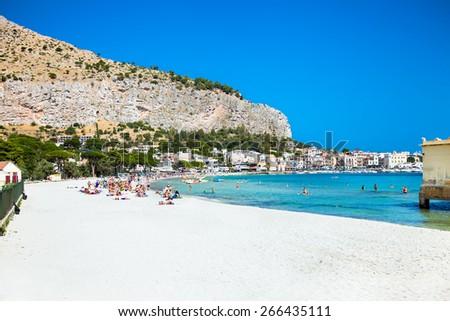 Mondello white sand beach in Palermo, Sicily. Italy. - stock photo