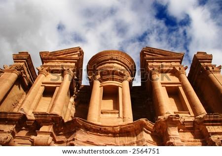 Monestry at Petra, Jordan - stock photo
