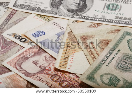 Monetary denominations of the different countries of the world - stock photo