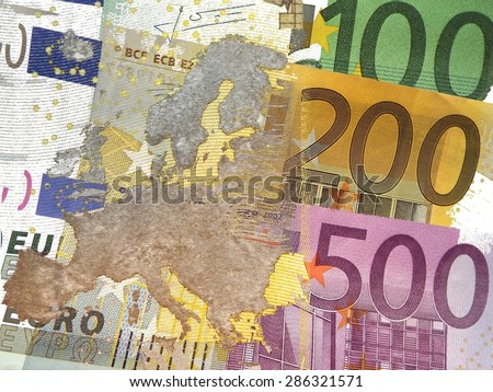 Monetary Union Europe - Map of Europe (partially translucent) before euro banknotes - stock photo