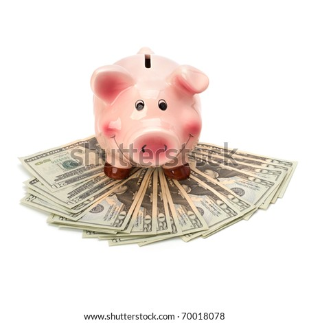 Money accumulation concept. Money and piggy bank isolated on white background. - stock photo