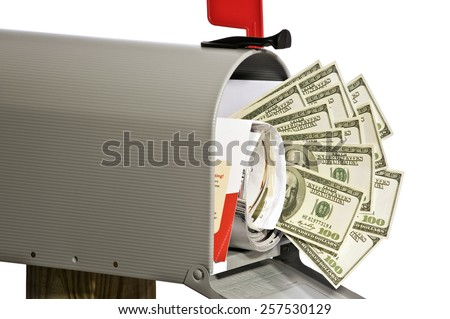 Money Accurately Printed In Mailbox On White Background - stock photo