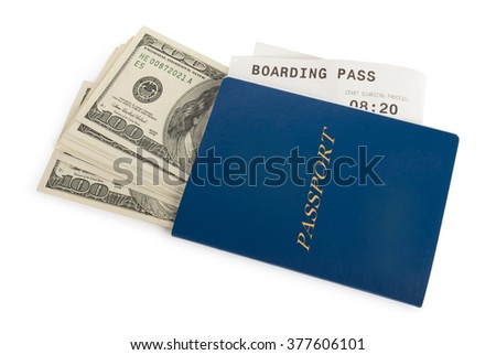 Money, airline ticket and new passport isolated on white - stock photo