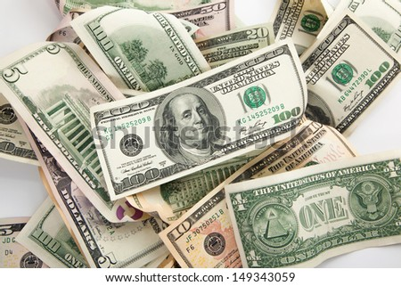 money american all dollars bills with blank text area - stock photo