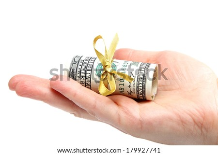 Money american hundred dollar bills in hand isolated on white background. - stock photo