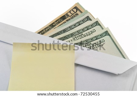 Money, an envelope and a sticker. Business concept. Donation. - stock photo