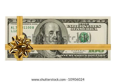 Money and bow, isolated on white background - stock photo
