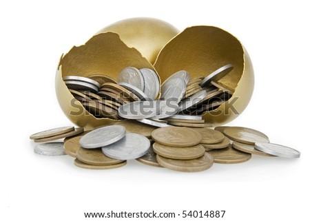 Money and broken gold egg,on white background. - stock photo