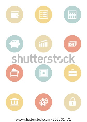 Money and business icons set. Eps10 illustration - stock photo