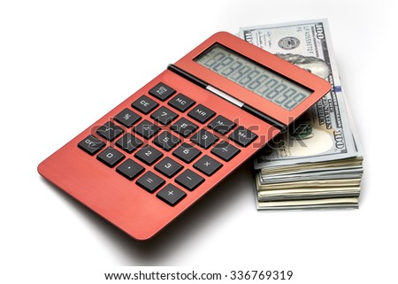 Money and calculator - stock photo