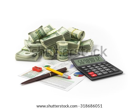 Money and calculator/ Image of calculator with money - stock photo