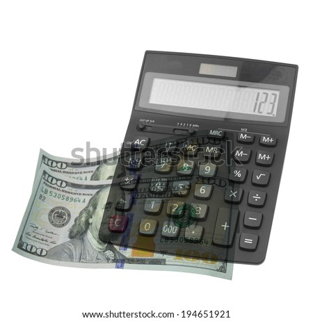 money and calculator isolated on white