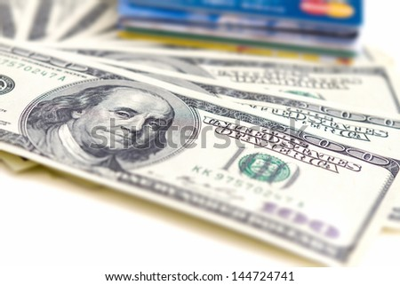 Money and cards, banking concept - stock photo