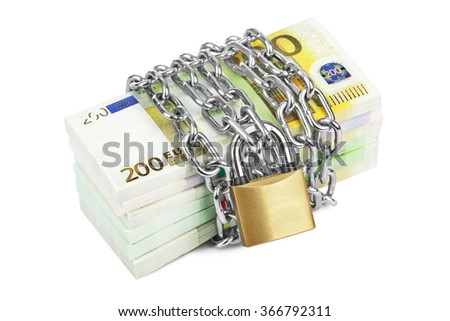 Money and chain isolated on white background - stock photo