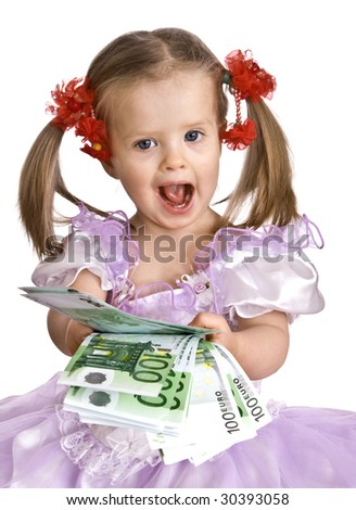 Money and child in dress. Isolated. - stock photo