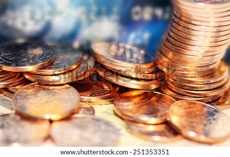 Money and credit card close-up - stock photo