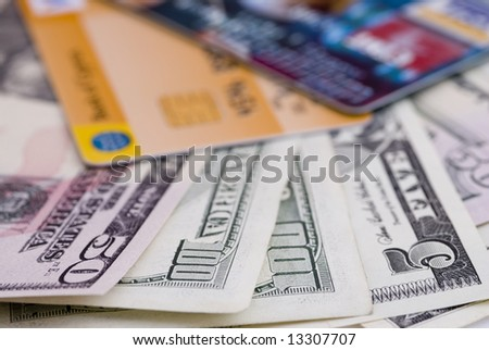 Money and credit cards.. - stock photo