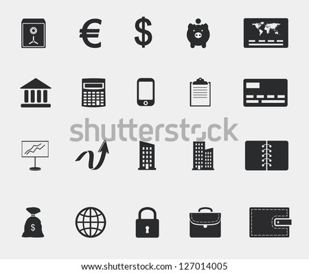 money and finance. business web icons set. raster version, vector file also available in gallery - stock photo