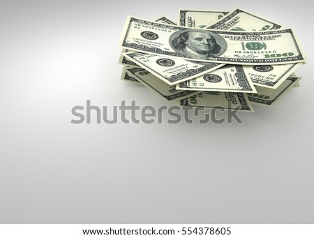 Money and finance concept - several dollars banknotes. 3d render