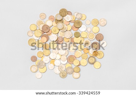 Money and Finance Topic: cash coins are isolated on a white background in the studio a top view