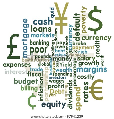 Money and financial word graphic - stock photo