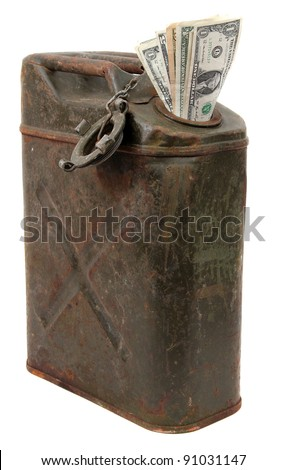 money and jerrycan - stock photo