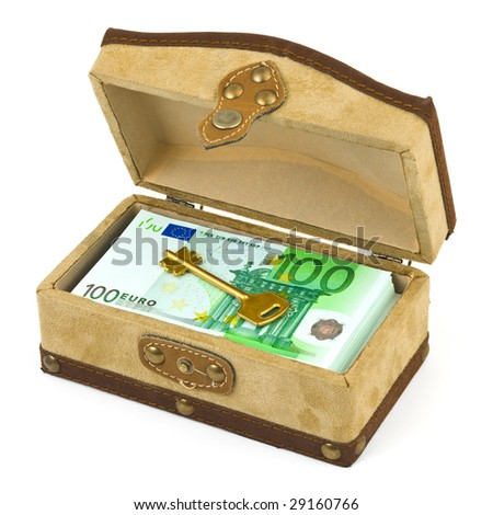 Money and key in box isolated on white background - stock photo