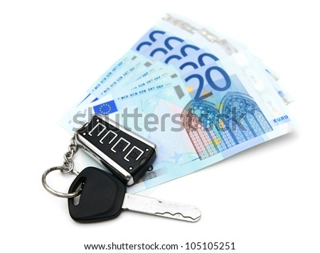 Money and keys from the car. On a white background. - stock photo