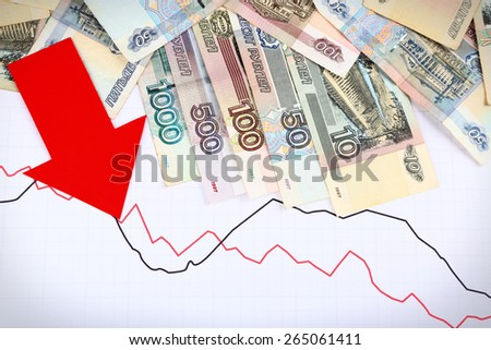 Money and red arrow on graph document close up - stock photo