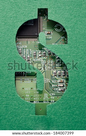 Money and technology. Cardboard dollars sign cutout revealing circuit board content - stock photo