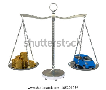 Money and the car in the gold balance scales. Isolated on white background - stock photo