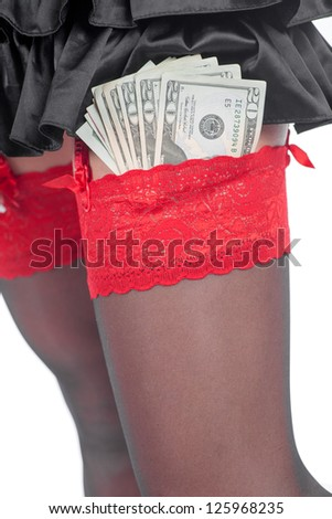 Money and woman stripper on a white background. Isolated - stock photo