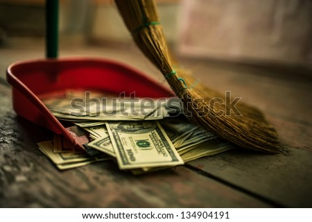 money as garbage - stock photo