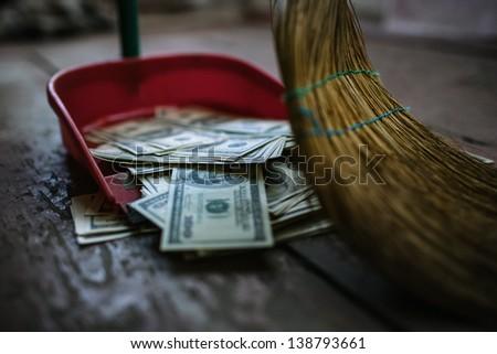 money as garbage - stock photo