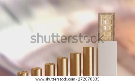 Money as problem solution - gold coins as stairs. - stock photo