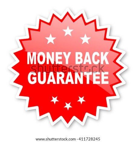money back guarantee red tag, sticker, label, star, stamp, banner, advertising, badge, emblem, web icon - stock photo
