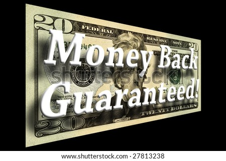 Money Back Guaranteed concept on a twenty dollar bill isolated on black - stock photo