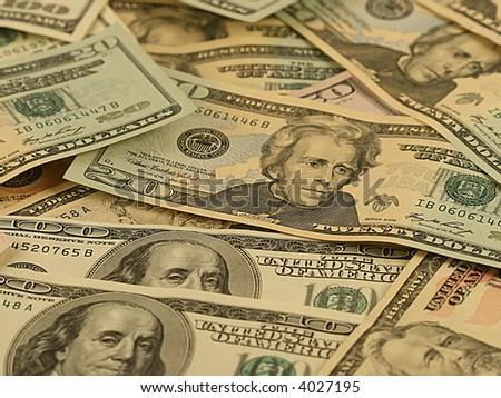 Money background - dollars of various advantage. - stock photo