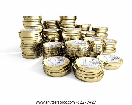 money background fine 3d euro coin on white