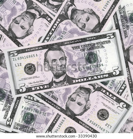 Money background,high resolution picture. Five dollars. - stock photo