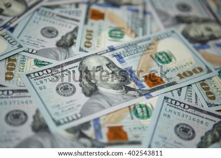 Money background - hundred american dollars - stock photo