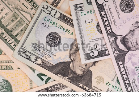 Money background of $5-$20 banknotes - stock photo