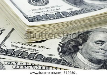 money background - stack of one hundred dollars - stock photo