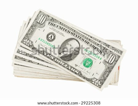 Money background - US dollars studio isolated on white background